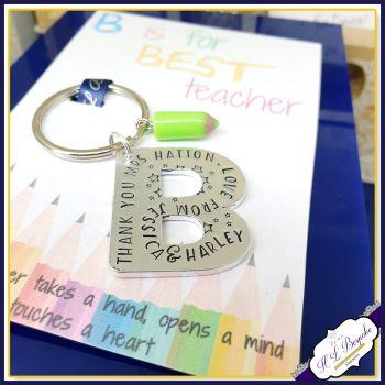 Personalised Best Teacher Gift - Keyring for Best Teacher - B Is for Best Teacher - Best Teacher Keyring - Gift For Teacher - Youre The Best