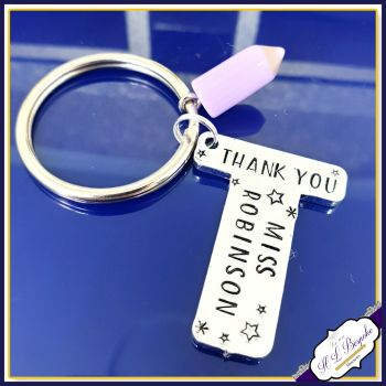 Personalised Teacher Gift - Personalised Keyring for Teacher - T Is for Teacher - End of Year Teacher Keyring - Thank You Teacher Gift