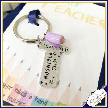 Personalised Teacher Gift - Personalised Keyring for Teacher - T Is for Teacher - End of Year Teacher Keyring - Thank You Teacher Gift