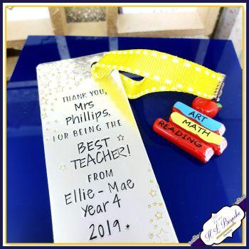 Personalised Teacher Bookmark - Bookmark for Teacher - Bookmark Gift for Teacher - Thank You Teacher - Best Teacher Gift - Metal Bookmark