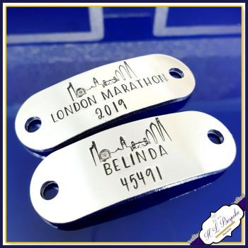 Pair Marathon Trainer Tags with Runner Number - London Marathon Gift - Runner Marathon Number Gift - Marathon Number Gift - Marathon Gift
