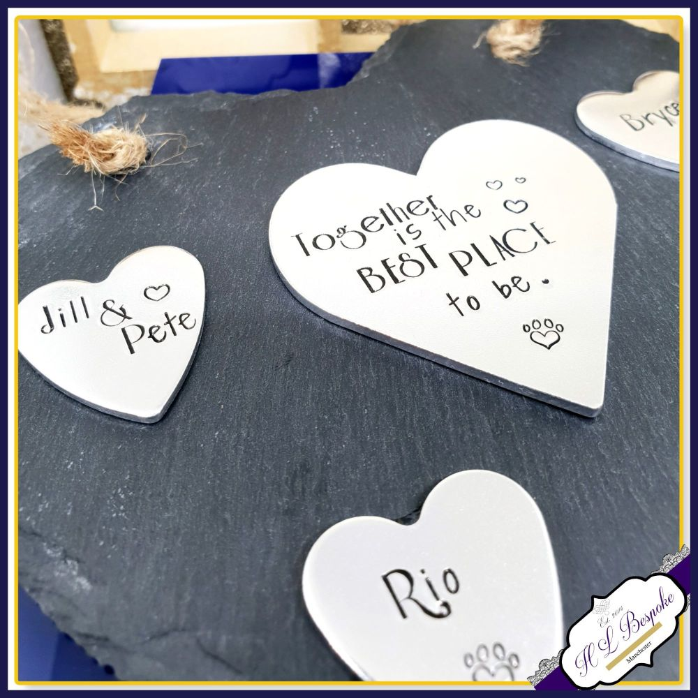 Large Personalised New Home Plaque - Gift for New Home - Slate Family Tree