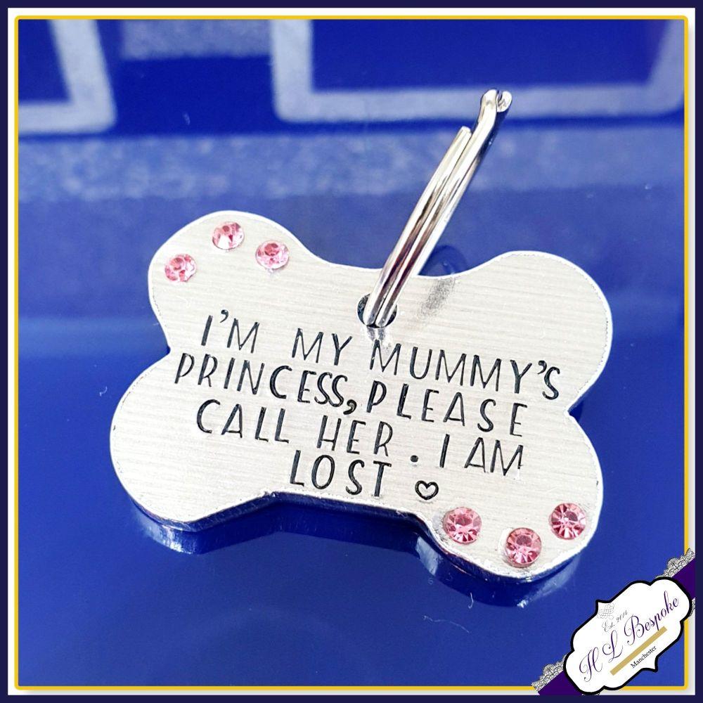 Personalised Princess Dog Tag with Crystals - I Am Lost Dog ID Tag - Bling