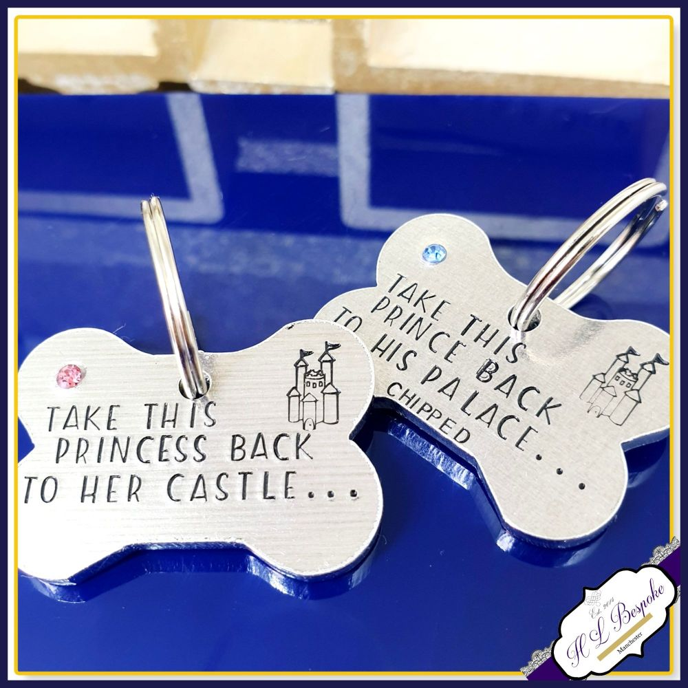 Personalised Dog Tag with Crystals - Take Me To My Castle Dog ID Tag - Blin