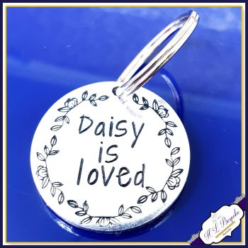Personalised Small Round Dog Tag - I Am Loved Dog ID Tag - ID Tag for Cat - Cat Tag For Collar - Pretty Dog Name Tag - Pet ID Tag - Cat Tag