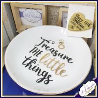 Personalised Ring Dish - Quote Trinket Dish - Modern Trinket Storage - Treasure The Little Things - White Gold Trinket dish - Jewellery Dish