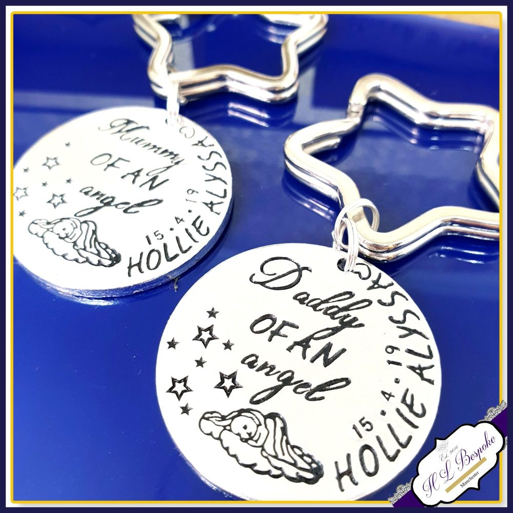 Personalised Angel Baby Keyring - Daddy Of An Angel Gift - Mummy of An Ange