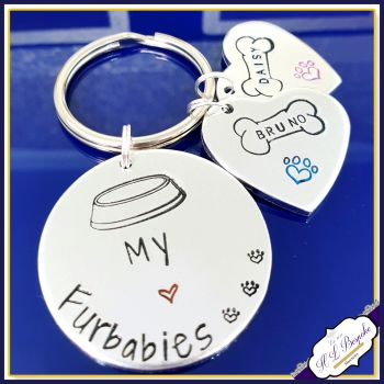 Personalised Furbabies Keyring - This Human Belongs To Keyring - My Furbabies Keyring - Dog Mum Gift - Dog Lover Gift - Dog Dad Keyring