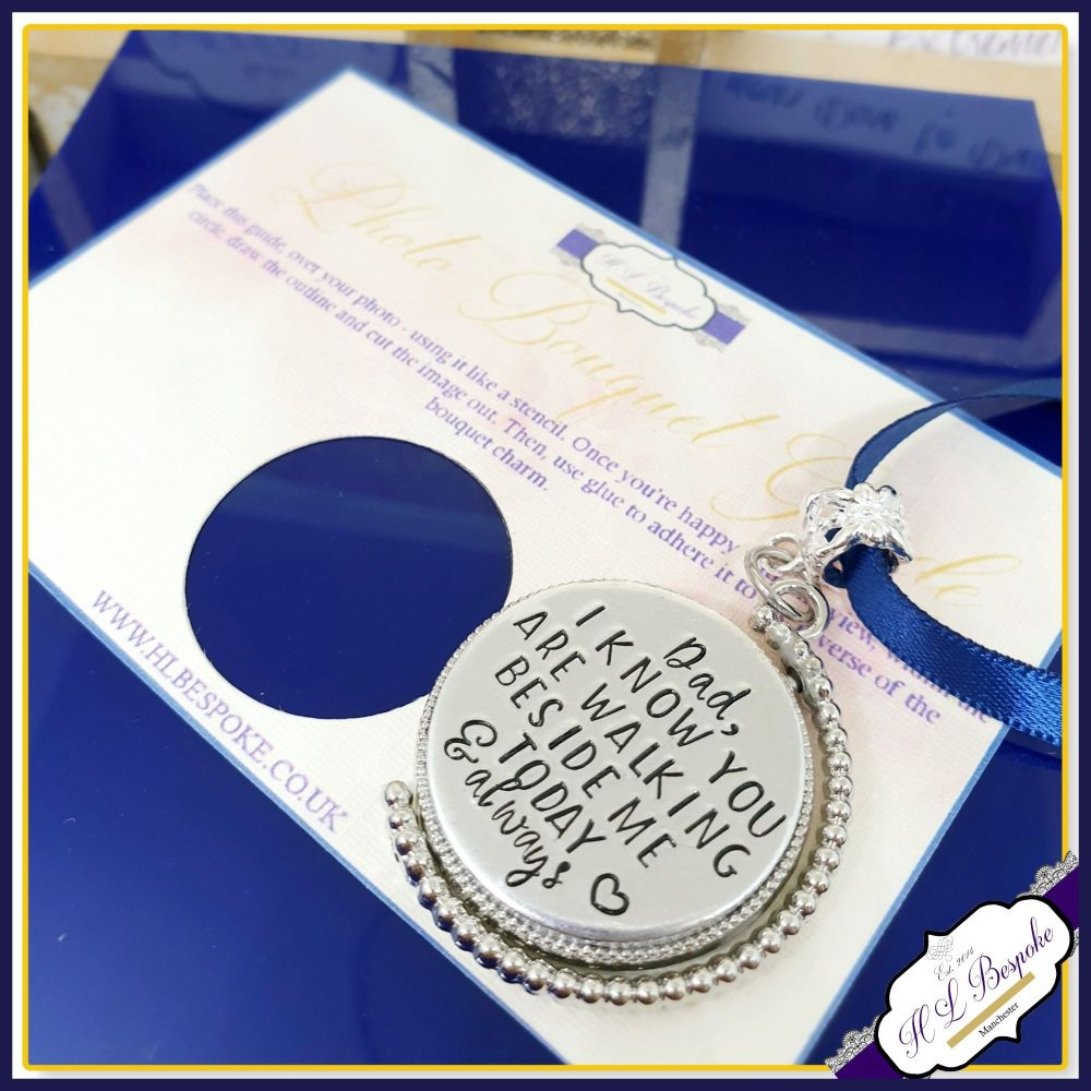 Personalised Rotating Silver Photo Bouquet Charm - Memorial Bouquet Charm -