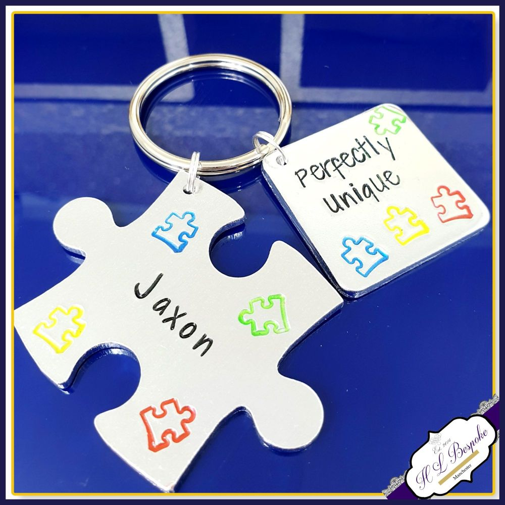 Personalised Autism Keyring - Jigsaw Austism Puzzle Keychain - Perfectly Un