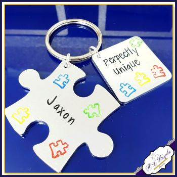 Personalised Autism Keyring - Jigsaw Austism Puzzle Keychain - Perfectly Unique - Autism Awareness Gift - Autism Gift - Awareness Keyring