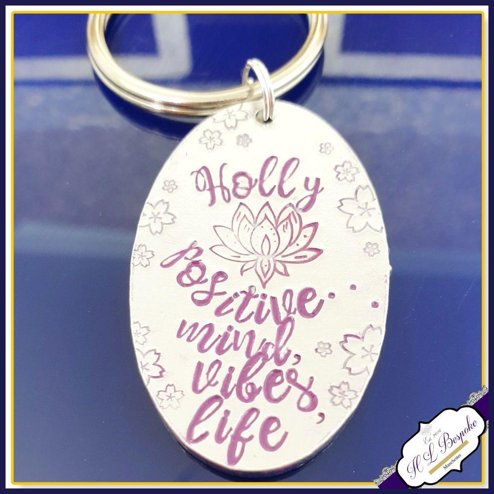 Personalised Lotus Flower Keyring - Positive Vibes Gift - Lotus Keychain -