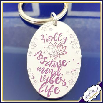 Personalised Lotus Flower Keyring - Positive Vibes Gift - Lotus Keychain - Positive Mind Gift - Positivity Gift for Her - Be Positive Be You