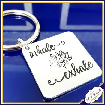 Inhale Exhale Keyring - Lotus Flower Keyring - Gift for Yoga Lover - Inhale Exhale Gift - Yoga Keychain For Him - Yoga Gift For Her - Breath