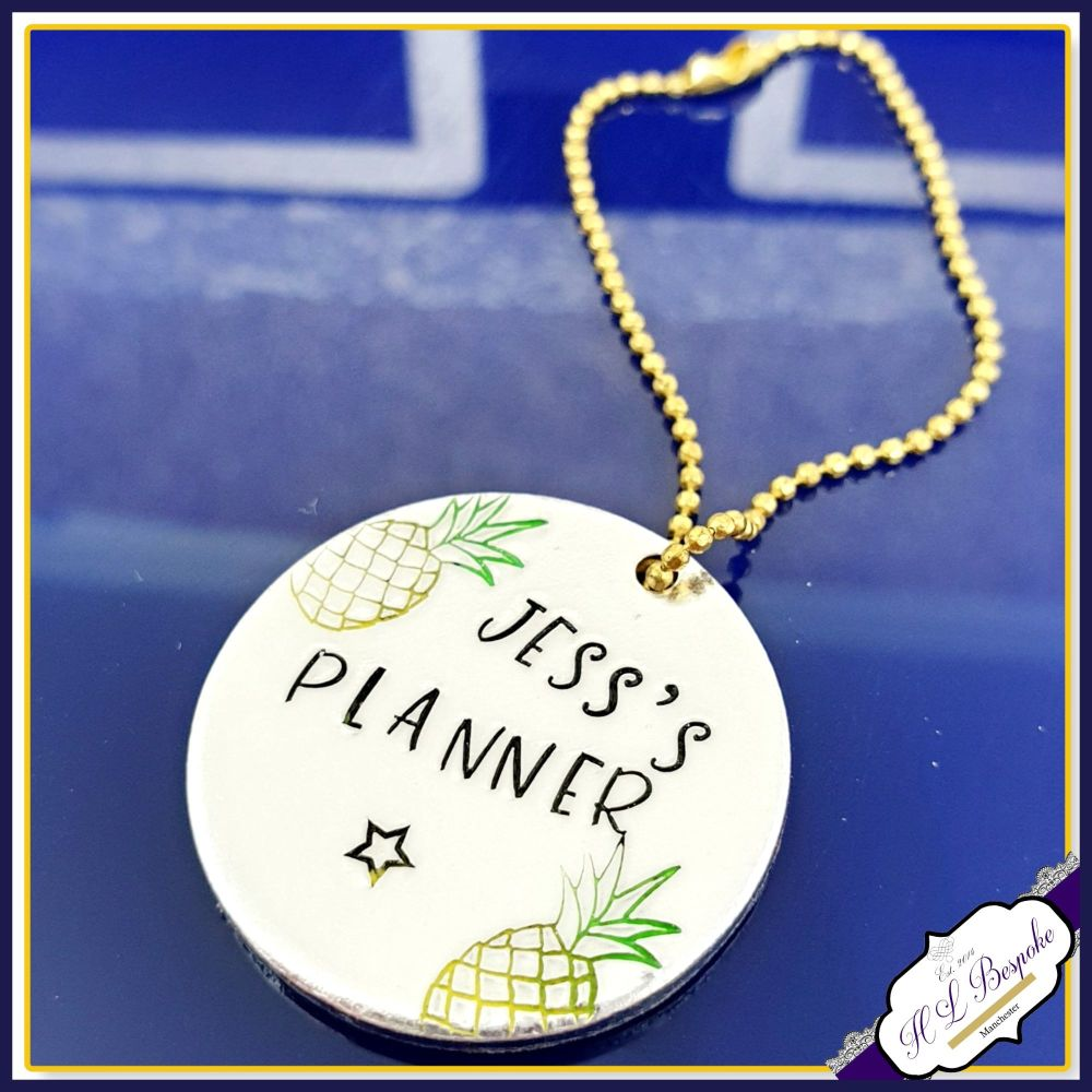 Personalised Pineapple Planner Charm - Planner Charm With Name - Planner Pi