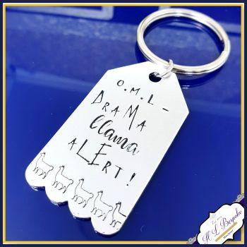 Drama Llama Keychain - Oh My Llama - Drama Llama Alert - Llama Gift - Lama Keyring - Llama Lover - Drama Lama Gift - OMG - Oh My God Gift