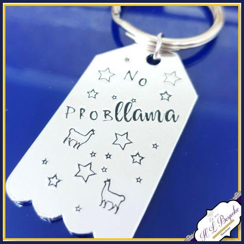 No Probllama Gift - No Prob Llama Keyring - Llama Gift - Llama Keyring - Ll