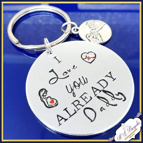Daddy To Be Keyring - Daddy From The Bump Gift - Fathers Day Keyring - I Lo
