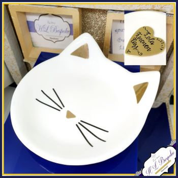 Personalised Ring Dish - Cat Face Trinket Dish - Modern Trinket Storage - Cat Lover Gift - White & Gold Trinket dish - Gold Foil - Jewellery