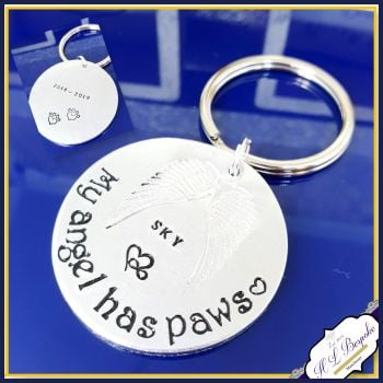 Double Sided Pet Memorial Keychain - Pet Memorial Keyring - My Angel Has Paws - In Memory Of Pet - Pet Loss Gift - Dog Memorial