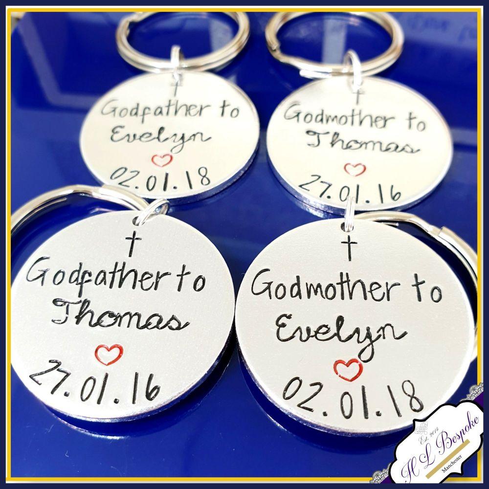 Personalised Godparent Gift - GodParent Keyring - Godfather Keychain - Godm