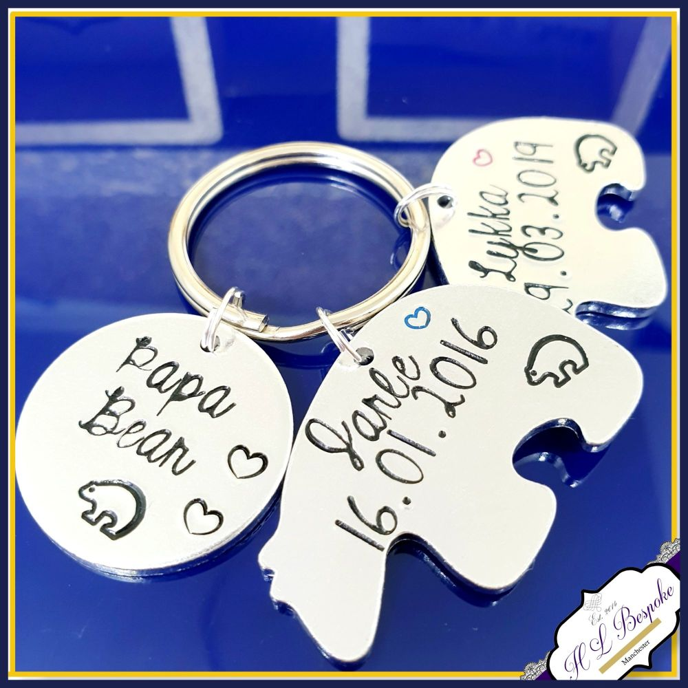 Personalised Daddy Bear Keyring - Pappa Bear Gift - Daddy Bear and Baby Bea