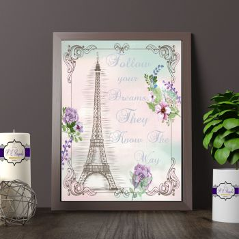 Paris Print for Girl's Bedroom - Eiffel Tower Print - Follow Your Dreams Gift - Paris Themed Print - Eiffel Tower Quote - Paris Art Print
