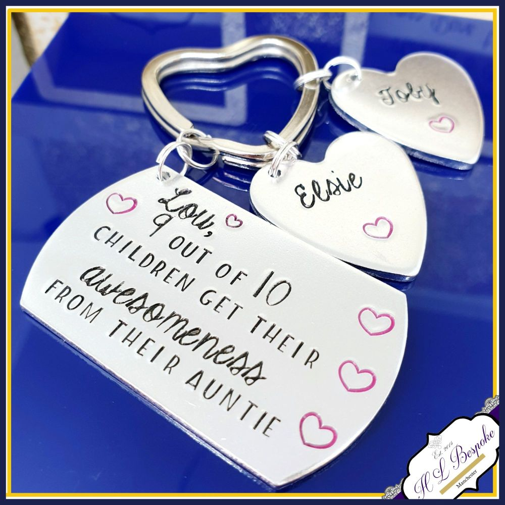 Personalised Auntie Gift - Aunty Keyring - 9 Out Of 10 Children - Awesome A