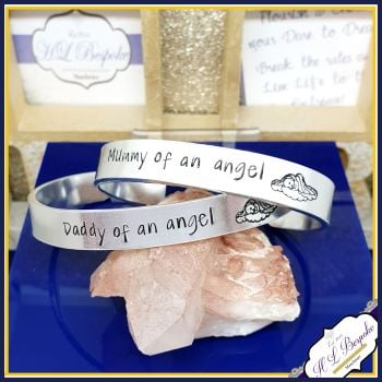 Personalised Angel baby Jewellery - Mummy Of An Angel Bangle With Initials - You CHOOSE Wording - Daddy of An Angel - Baby Loss Bangle