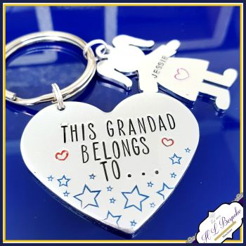 Grandad Keyring - Fathers Day Gift - Grandad Belongs To - Nanna Keyring - Grandma Gift - Family Tree Gift - Papa Gift - New Grandad Gift