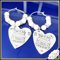 Mr & Mrs Wine Glass Charms - Personalised Wine Glass Charms - Personalised Wedding Gift - Bride And Groom Gift - Glass Charms - Wedding Meal