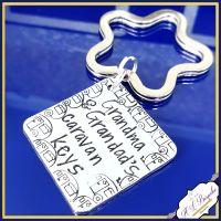 Personalised Caravan Keyring - Caravan Keys Keychain - Grandma's Caravan Keys - Grandard's Caravan Keys - Mummy's Caravan Keys - Daddy's