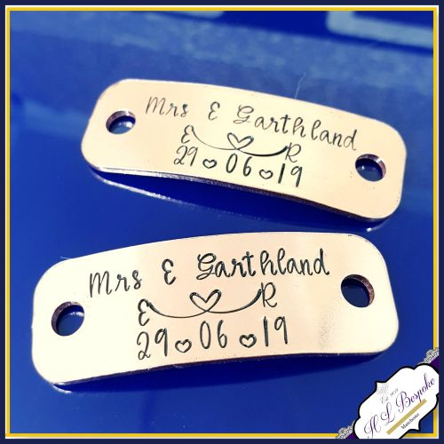 Personalised Wedding Shoe Tags - Custom Wedding Converse Trainer Tags - Per