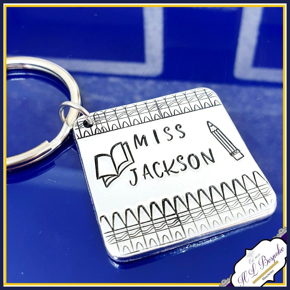 Personalised Teacher Gift - Teacher Name Keyring - Gift For Teaching Assist