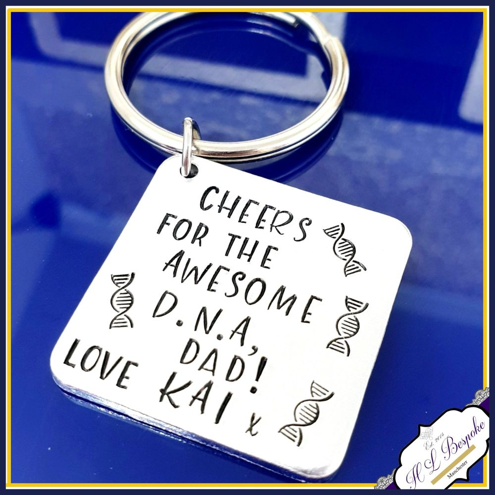 Personalised Awesome DNA Dad Keyring - Funny Father's Day D.N.A Gift - Funn