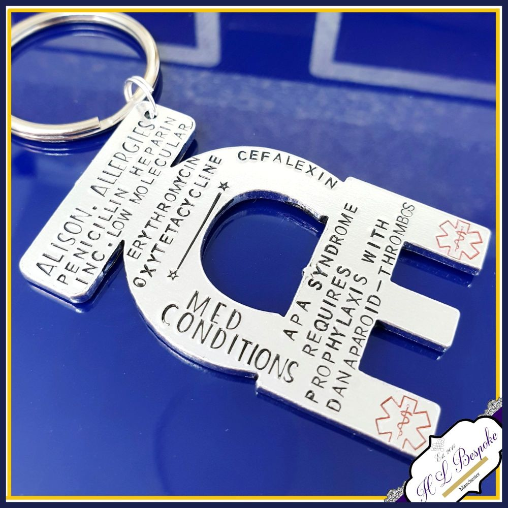 Personalised ICE Medical Keyring - Allergy Keyring - In Case of Emergency K