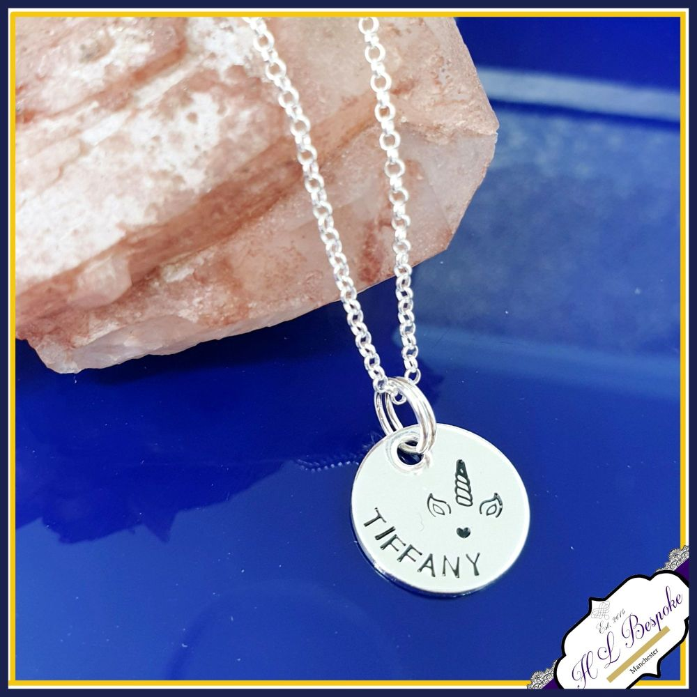 Personalised Unicorn Pendant - Sterling Silver - Unicorn Necklace - Unicorn