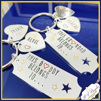 This Daddy Belongs To Keyring - Daddy Keyring - Father's Day Keyring For Grandad - Daddy Gift - Uncle Belongs To Keyring - Pops Belongs To