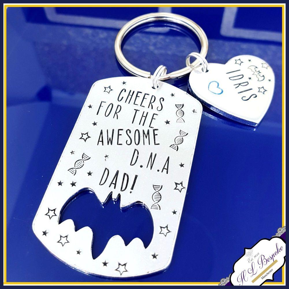 Awesome DNA Dad Bat Keyring  - Superhero Bat Daddy Keyring - Cheers For The