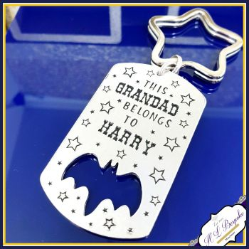This Grandad Belongs To Keyring UK - Grandad Superhero Keyring - Father's Day Hero Bat Daddy Keyring - Gift For Grandad - Father Day Keyring