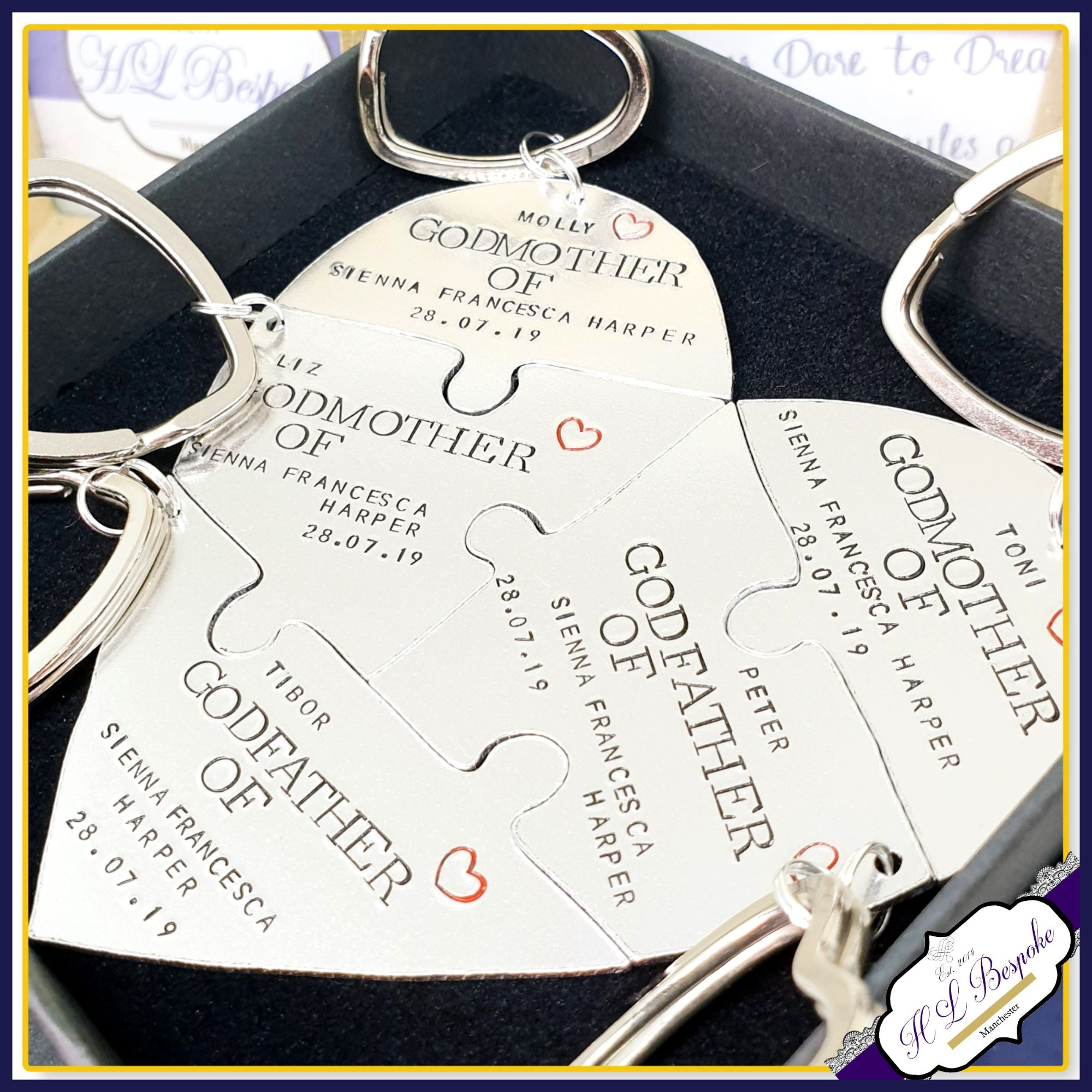 5 Piece Godparent Puzzle Heart Keyrings
