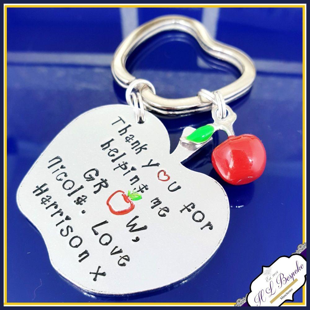 Personalised Teacher Keyring - Teacher Gift - Teacher Apple Gift - Thank Yo