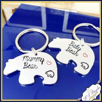 Personalised Mother Daughter KeyringS - Mummy Bear and Baby Bear Keyring - Mummy Bear and Baby Bear Gift - Mum & Daughter Gift - Mum Son