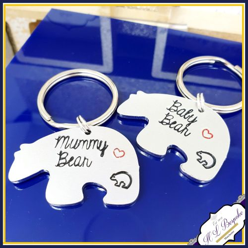 Personalised Mother Daughter KeyringS - Mummy Bear and Baby Bear Keyring -