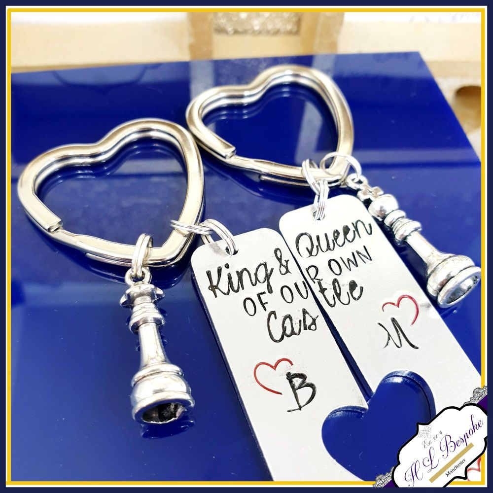 Pair King and Queen Keyrings - Personalised Chess Keyrings - Couple's Keyri