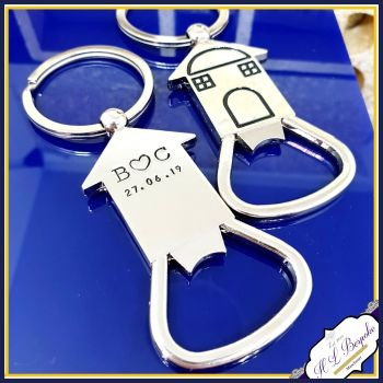Personalised New Home Gift - Keyring For Him - Bottle Opener - Gift For Her First Home Keyring - Custom Bottle Opener - House Warming Gift