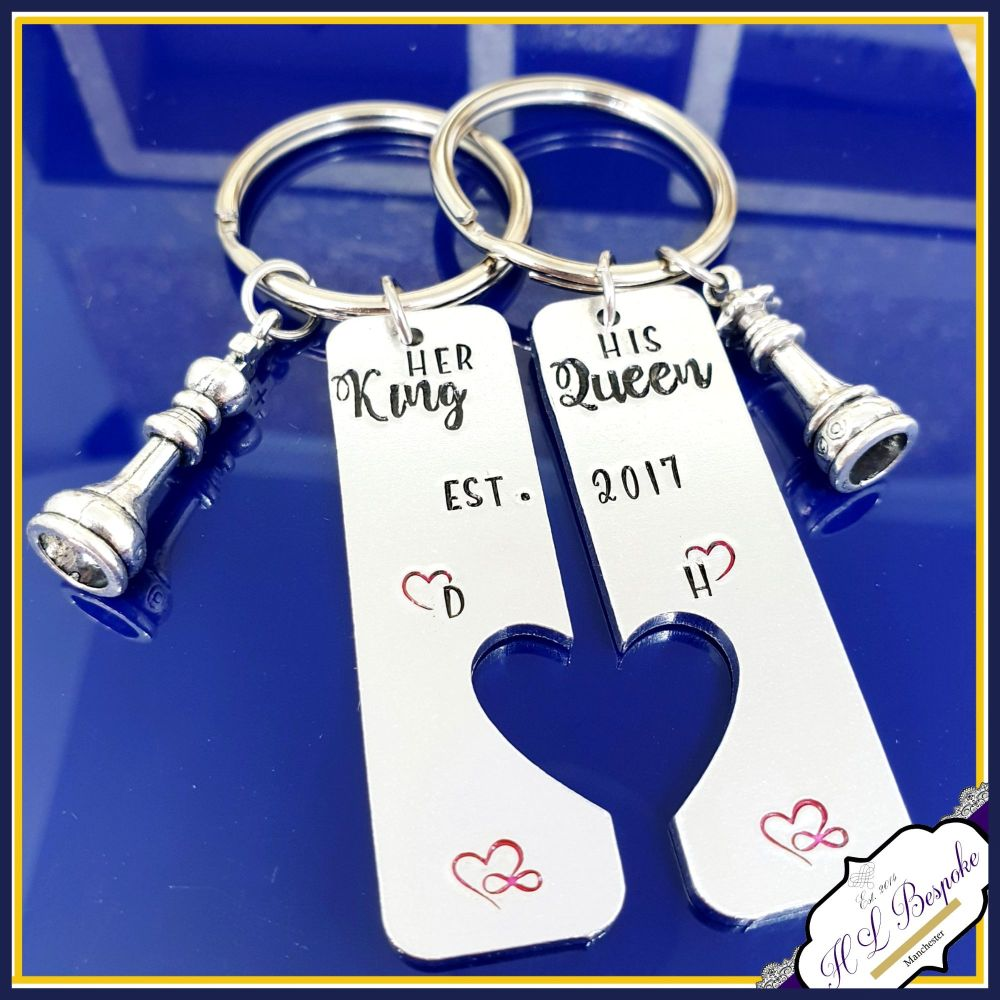 His Queen Her King Keyring Set - Gift For Chess Players - His And Hers Gift