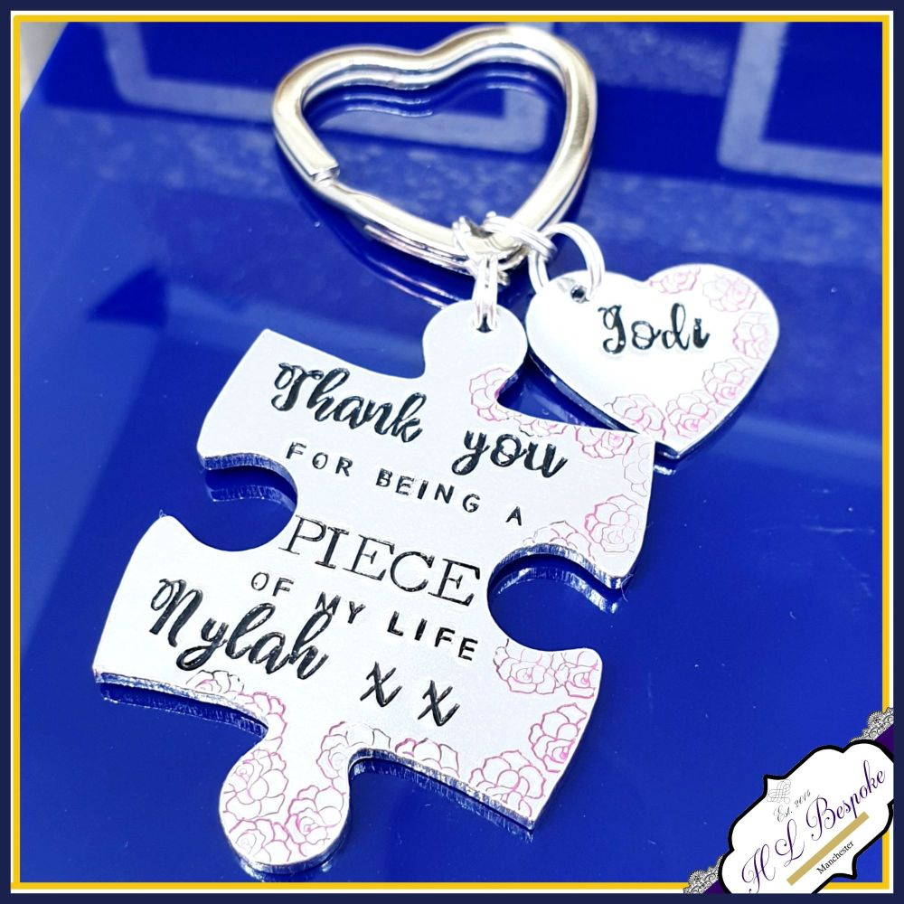 Personalised Puzzle Piece Keyring - Thank You For Being A Piece Of My Life