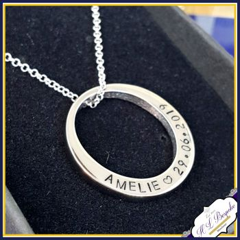 Personalised Washer Pendant - Washer Necklace - Name Necklace - Name Pendant - Stainless Steel - Personalised Round Necklace - Round Pendant