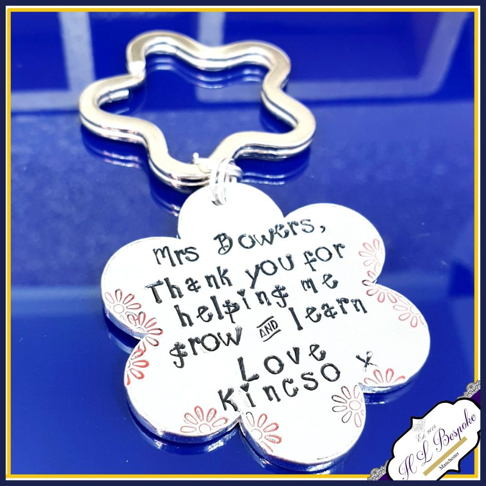 Personalised Teacher Keyring Gift - Hand Stamped with Teacher's Name and Ch